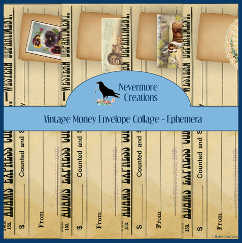 Vintage Money Envelope Collage Ephemera Sheets - PRINTED