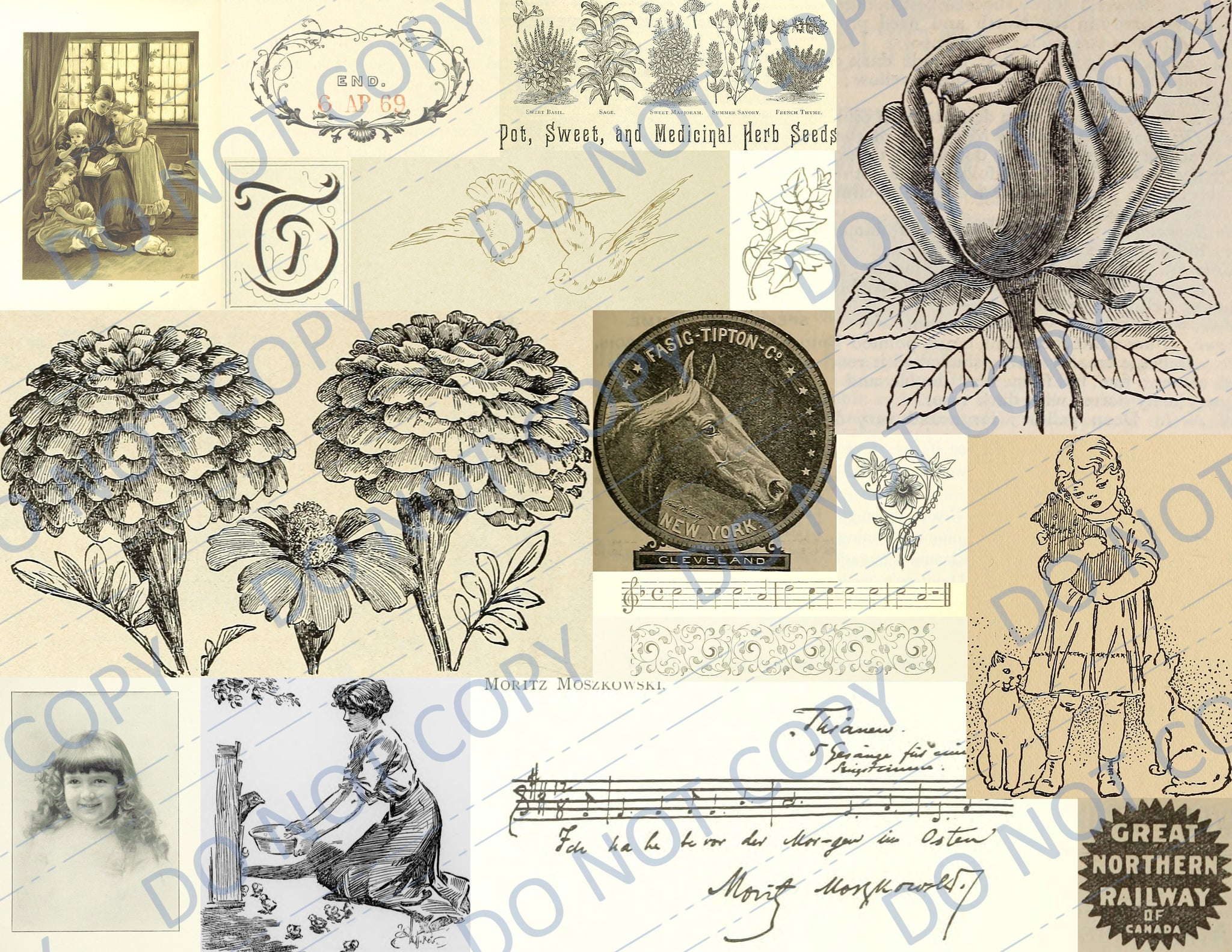 Neutral Vintage Cut Apart DIGITAL Journal Pages