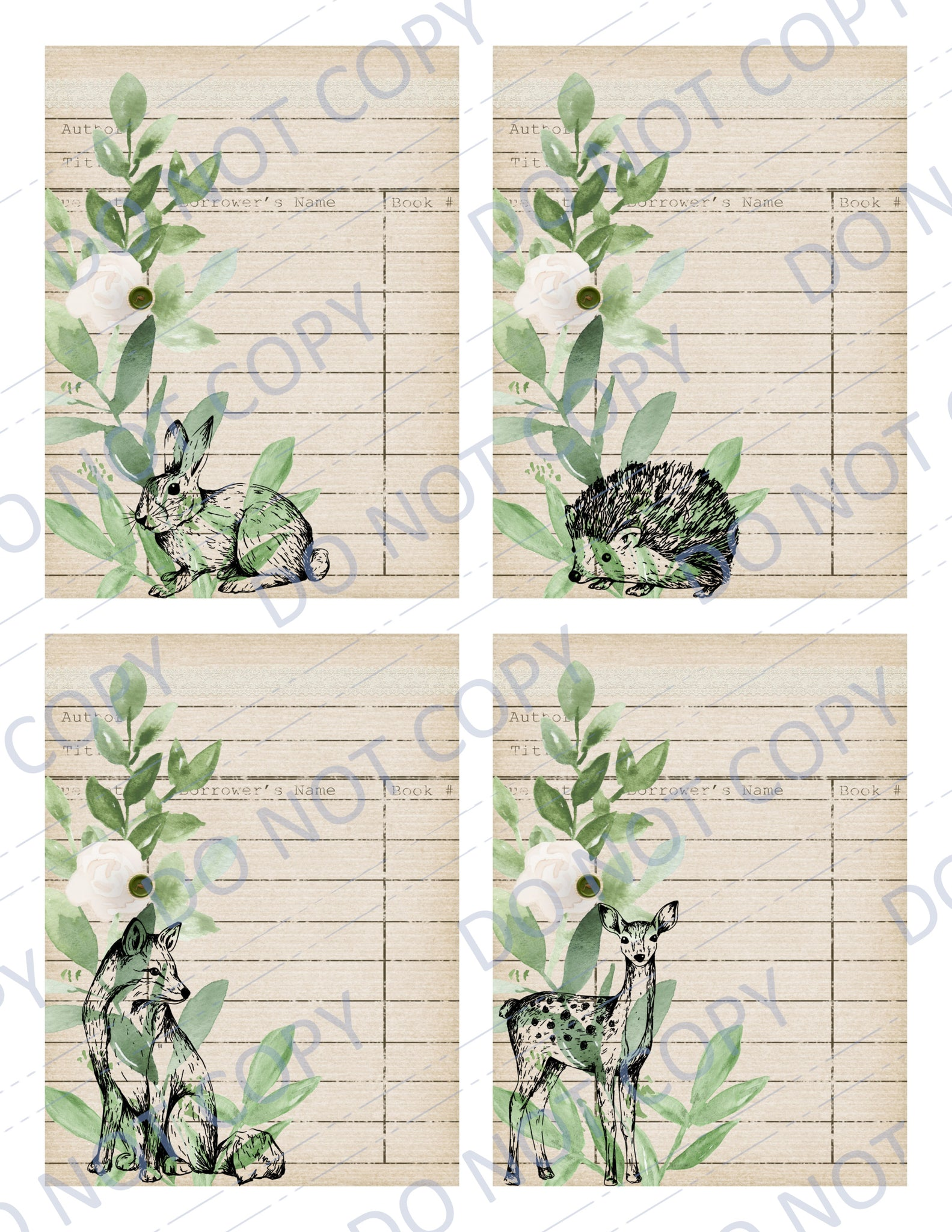 Woodland Greenery PRINTED Library Cards