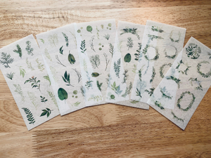 Greenery Washi Sticker Sheets Set of 6 - LZ