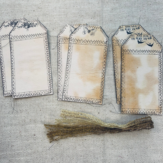 Stitched Nature Tags set of 6