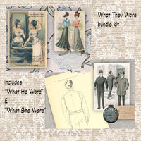 WHAT THEY WORE Vintage Fashion Bundle Junk Journal Kit - digital version