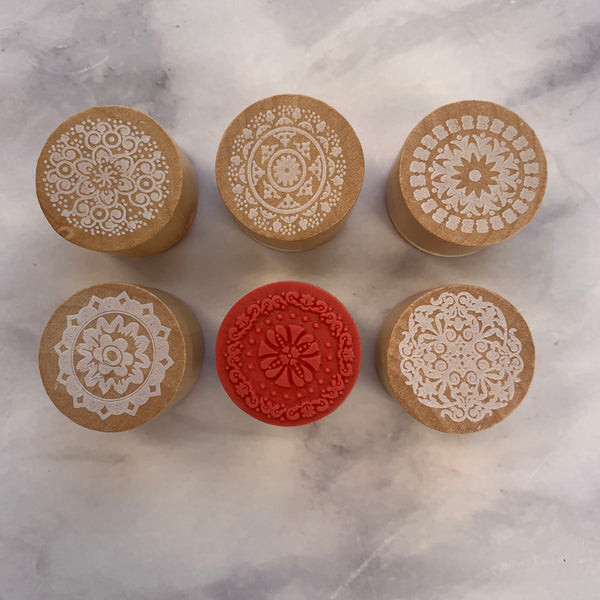 Snowflake Mandala Wooden Stamps set of 6
