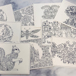 Coloring Postcards set of 10 - LZ