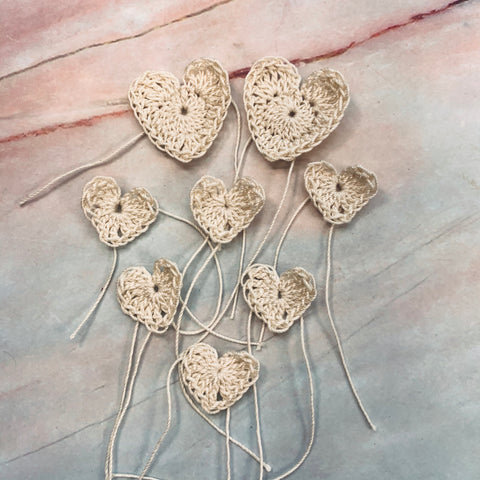 Cream Hearts Hand Crocheted  - CZ