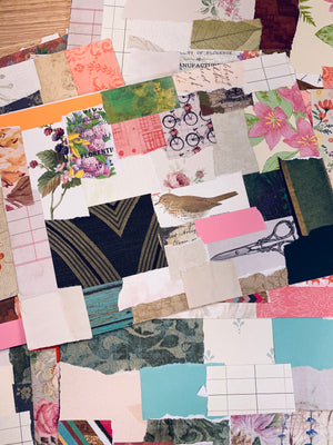 Large Collaged Paper Sheets set of 10 - LZ