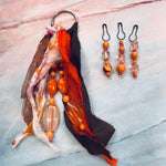 Orange Sherbet Beaded Tassel & Dangle Set - CZ