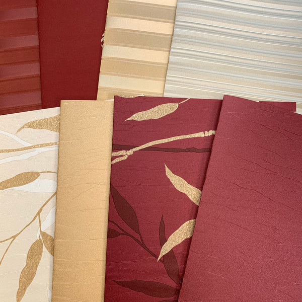 Burgundy & Gold Wallpaper Collection set of 8 - LZ