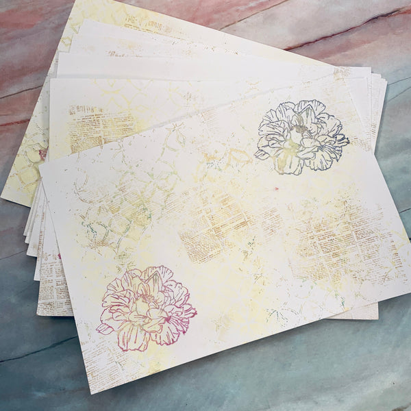 Stenciled & Stamped Mixed Media Papers - LZ
