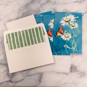 Butterfly & Glittered Flowers Notecard set of 4- LZ