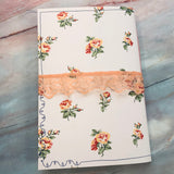 White & Pink Roses Journal with Ephemera Pack for Decorating - LZ