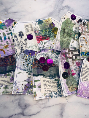 Mixed Media Stitched Tags set of 10- LZ