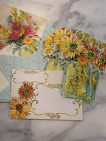 Gold Floral Mason Jar Notecard set of 5 - LZ