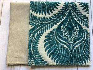 Teal & Cream Upholstery Fabric Samples - JH