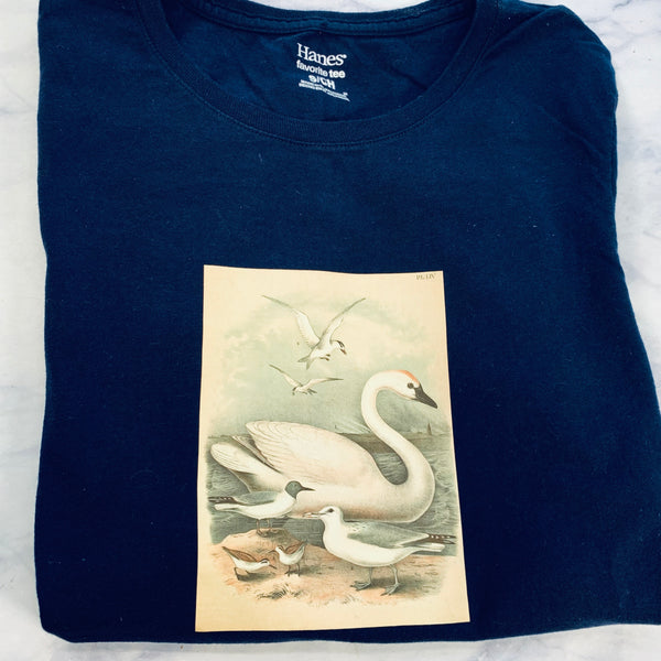 Vintage Birds Upcycled TShirt Size Small - LZ