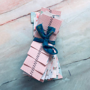 Pretty Pastel Stitched Paper Ribbons - LZ