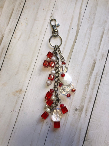 Red Beaded Dangle Journal Charm -JH