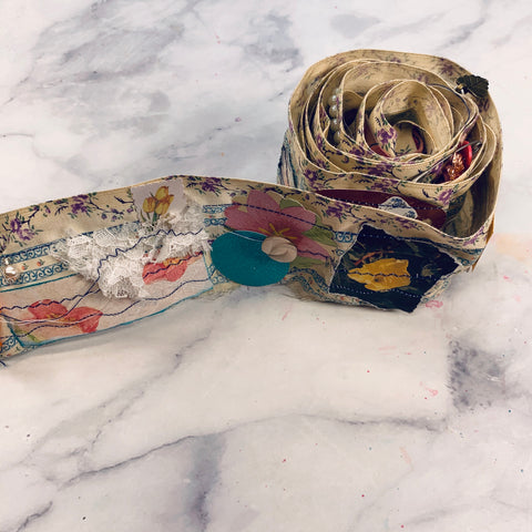 Vintage Fabric Snippet Roll #2 - 6 Feet Long - LZ