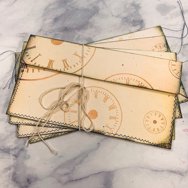Vintage Time Stitched Envelope Pouches set of 4 - LZ