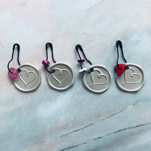 Faux Wax Seal Heart Dangles - LZ