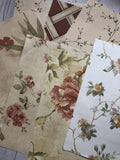 Burgundy & Gold Floral Wallpaper - JH