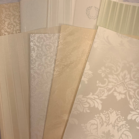 Satin Whites & Creams Wallpaper Collection set of 9 - LZ