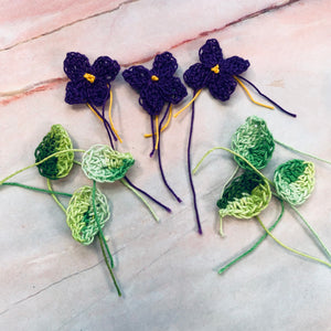 Hand crocheted Lilacs & Leaves - CZ