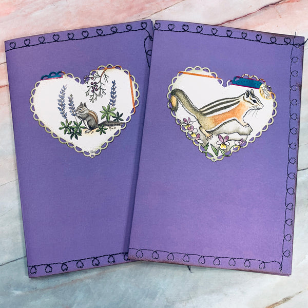 Chipmunk Stitched Cardstock Journal Covers set of 2 - LZ