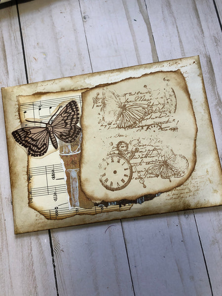 Decorated Vintage Style Envelope with Ephemera- JH