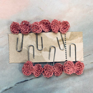 Dusty Rose Hand Crocheted Bow Paperclips - CZ