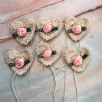 Cream Crocheted Hearts with Roses- CZ