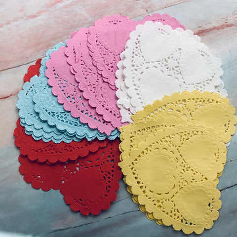 Multicolored Heart Paper Doilies set of 25- LZ
