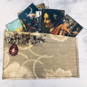 Wallpaper Pouch Gypsy Boho Stitched Journal Cards - LZ