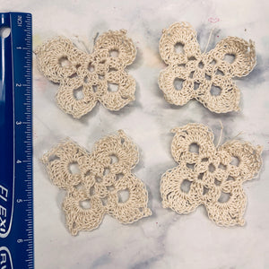 Set of 4 Cream Hand Crocheted Butterflies - CZ