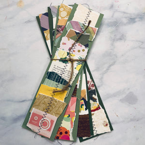 Stitched Scrap Paper Bookmarks Green Base - LZ