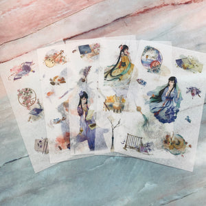 Oriental Washi Stickers 5 Sheets - LZ