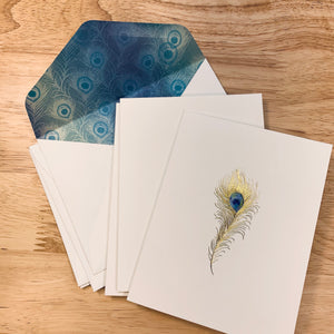 Gold Peacock Feathers Notecards set of 5 -LZ