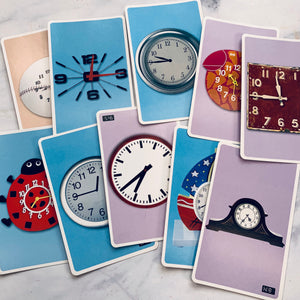 Clock Telling Time Flashcards set of 10 - LZ