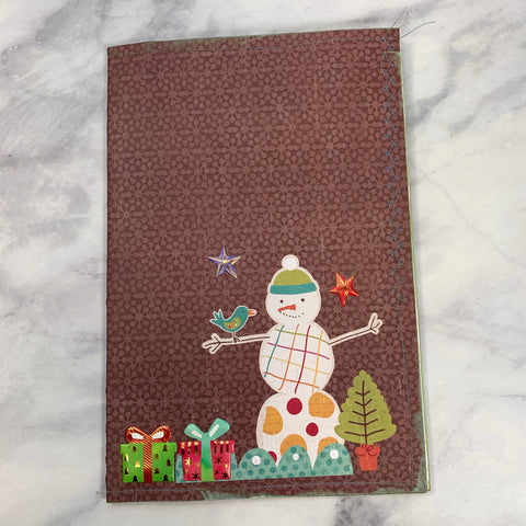 Cute Snowman Stitched Cardstock Journal Cover - LZ