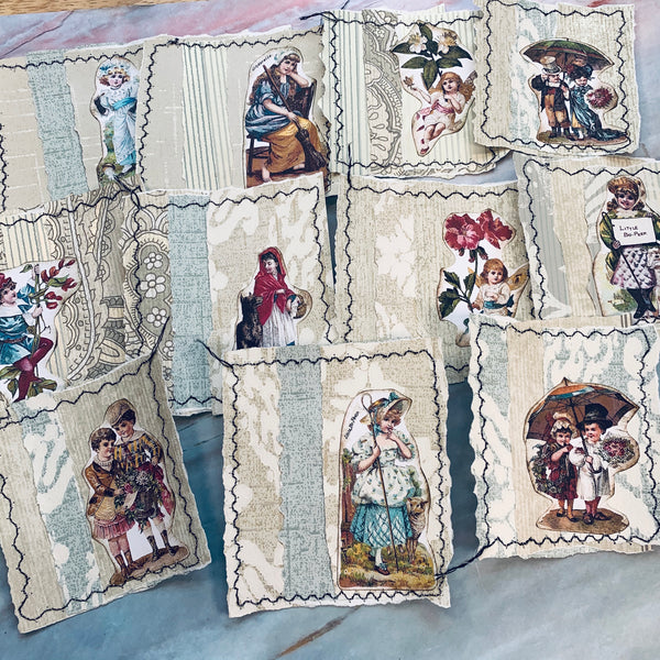 Fairy Tale Wallpaper Stitched Journal Card Snippets - LZ