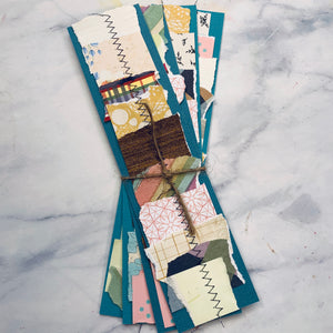 Stitched  Scrap Paper Bookmarks Blue Base - LZ