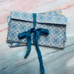 Blue & Yellow Stitched Envelope Pouches Set of 4 - LZ