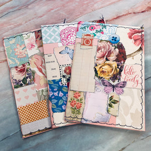 Set of 3 Iridescent Pink Collaged Stitched Journal Covers - LZ