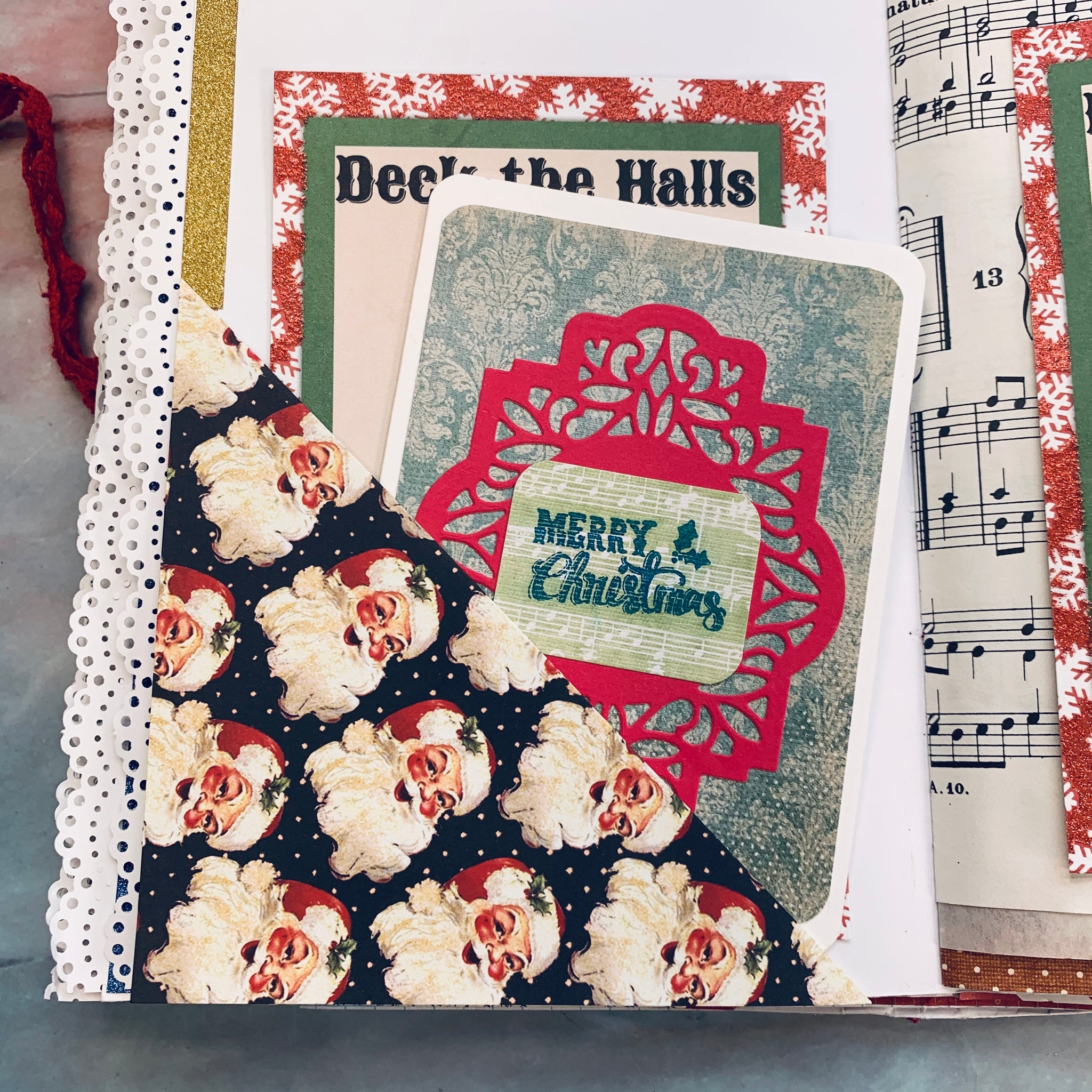 Santa with Pearl Beads Junk Journal by Vickie Treaster