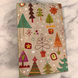 Poinsettia Christmas Tree Stitched Cardstock Journal Cover - LZ