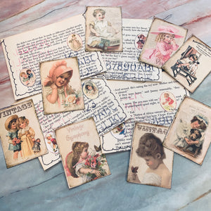 Vintage Children Pouches and Journal Cards - LZ