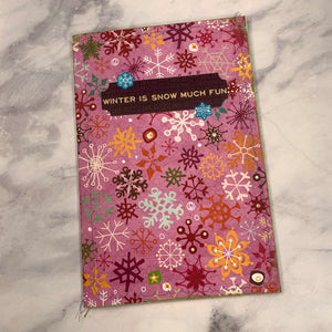 Snowflakes Stitched Cardstock Journal Cover - LZ