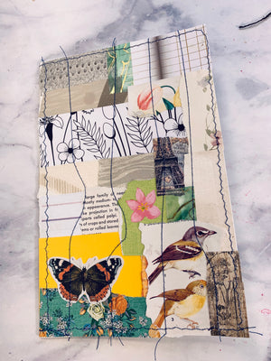 Collaged & Stitched Journal Cover- LZ