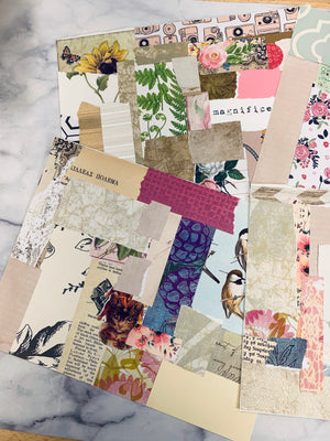 Medium Collaged Paper Sheets set of 4 - LZ