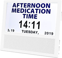 Load image into Gallery viewer, Digital Medicine Clock and Photo Frame Medication Reminders with 8 Alarm Options Calendar 7inch 1024x600 IPS Clear Display Large Letters
